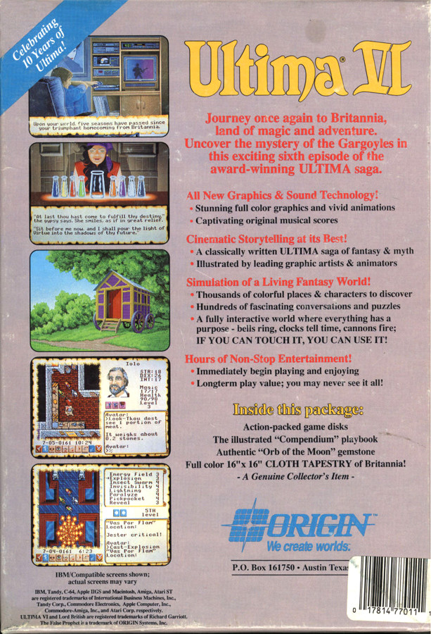 Origin Systems address on the Ultima 6 box