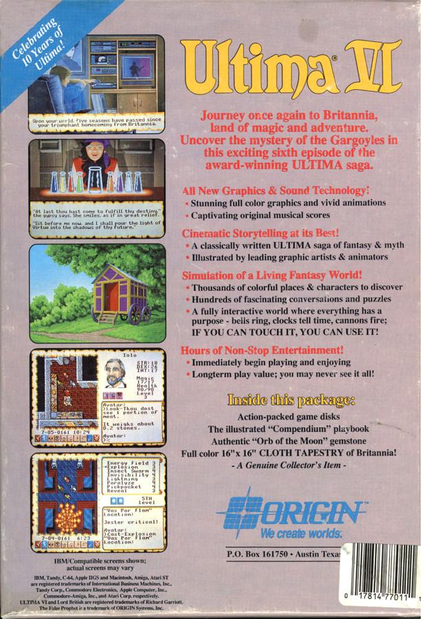 Origin Systems address on the Ultima 6 box