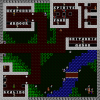 Overhead tile view of Britain in Ultima IV